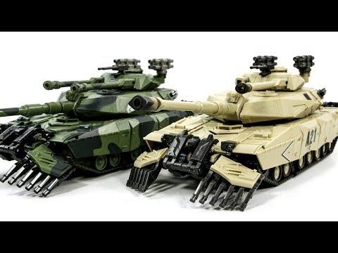 Transformers KO Desert VS Green Leader Brawl M1A1 Abrams Main Battle Tank Robot Toys