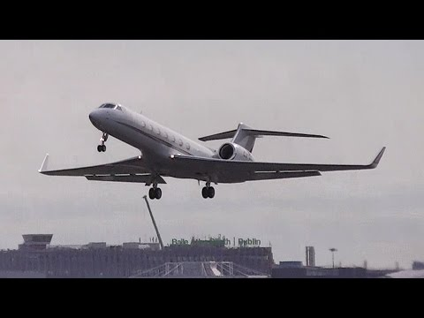 Gulfstream 550 Jet (CS-DKI) Take Off from Dublin Airport, Ireland