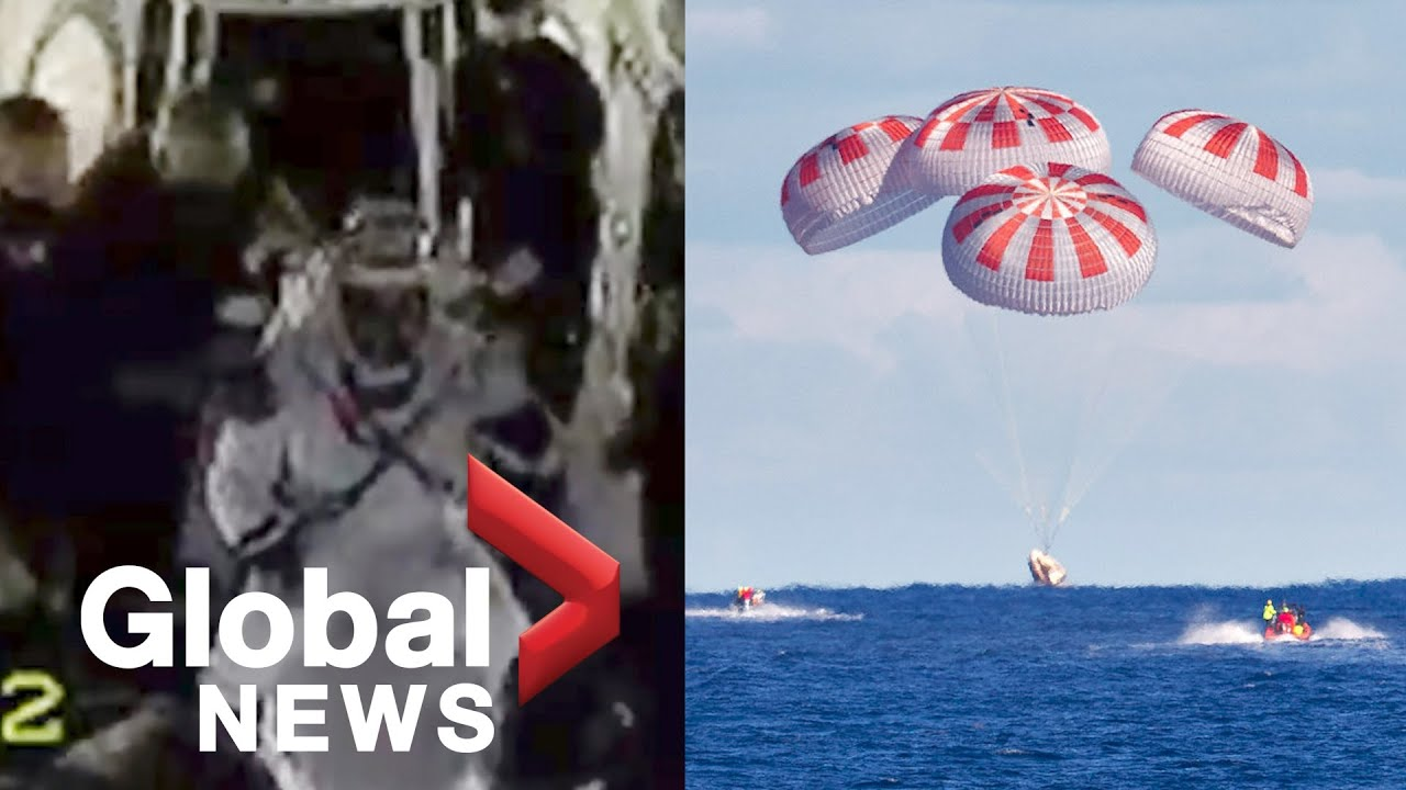 U.S. astronauts return to Earth in SpaceX Crew Dragon DM-2 splashdown | FULL - Global News