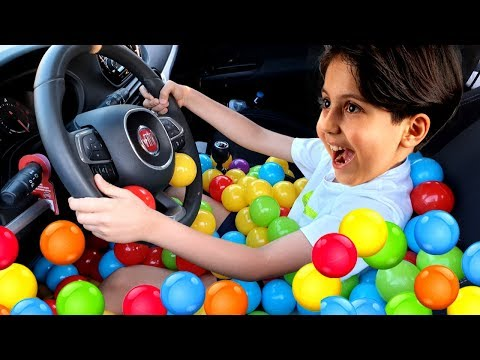 Ball Pool In Car ! We Are In The Car, Wheels On The Bus Song Nursery Rhymes & Kids Songs