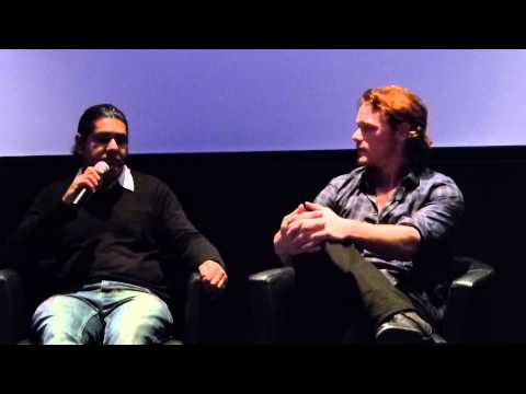 Sam Heughan and Suki Singh during the Q&A at the Emulsion Premiere