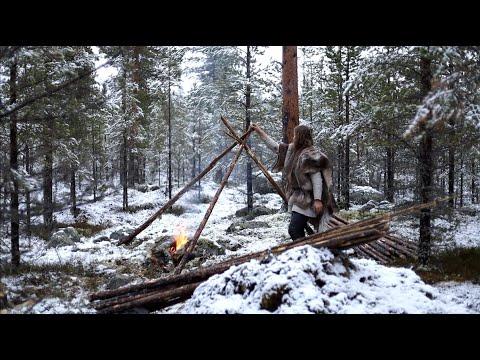 Viking Bushcraft Trip - Snow, Making Tipi, Reindeer Sleeping Bag, Cooking Meat On Hot Stone Etc.