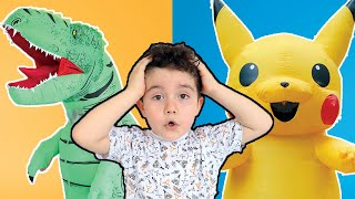 Yusuf pretend play with pikachu and dinosaur