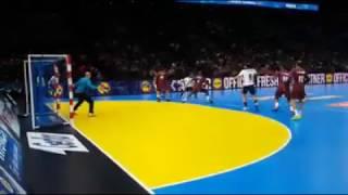 جانب من مباراة مصر وقطر بكأس العالم لليد في فرنسا