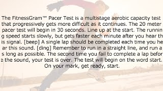 The FitnessGram™ Pacer Test