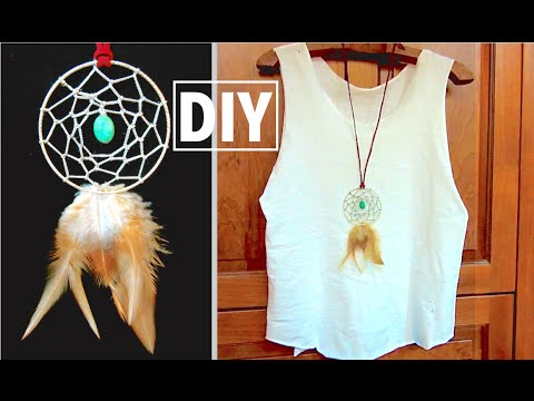 How To Make Dream Catcher Necklace DIY Dreamcatcher Necklace DIY Boho Jewelry YouTube 34