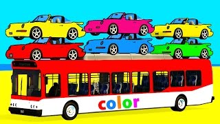 Bus and Color Car for Kids - Spiderman Cars Cartoon w Colors for Children Fun Superheroes