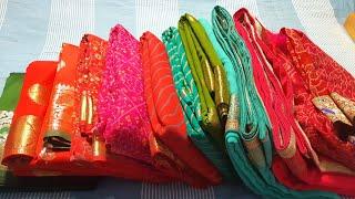 Bridal saree shopping haul   bridal chiffon saree   silk saree   lahariya saree   banarasi saree  