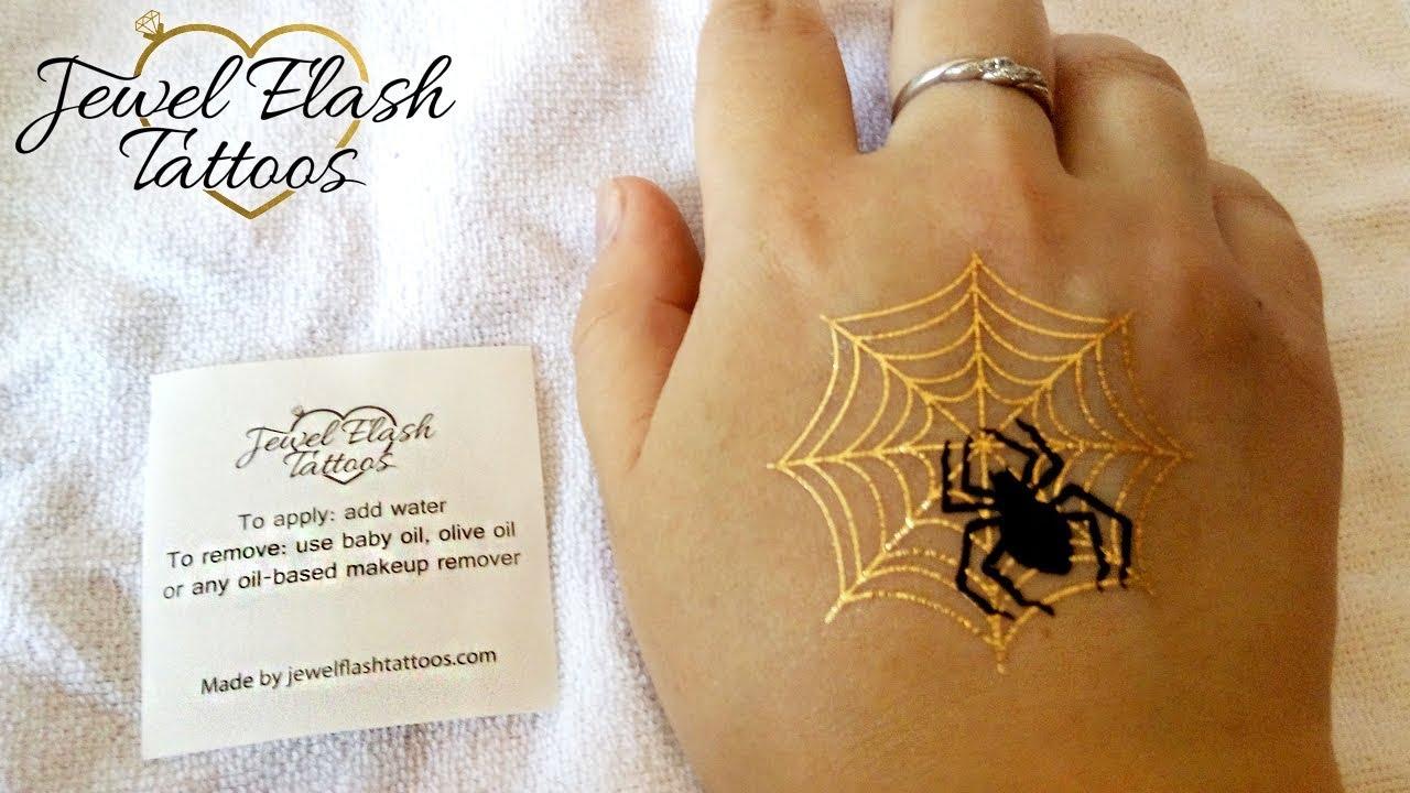 spider gold net tattoo adults