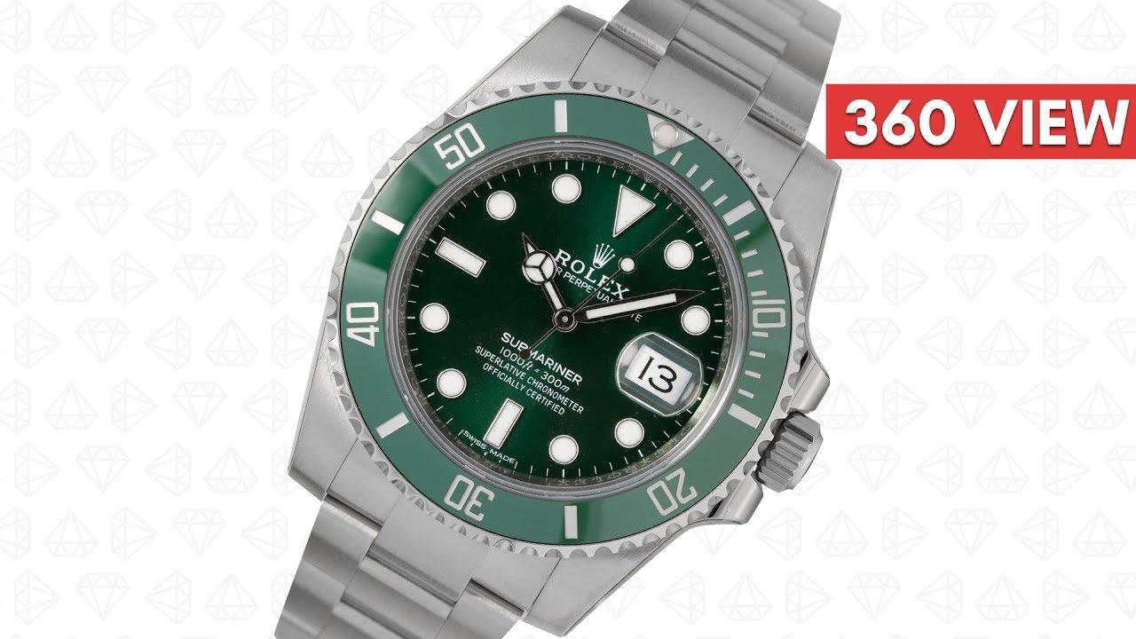 2950b6259d7 Rolex Submariner Date Stainless Steel Green Dial (Hulk) 116610LV (T4D) watch  360 video