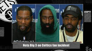Nets Big 3 React To Celtics Fan Who Threw Water Bottle At Kyrie Irving | 2021 NBA Playoffs