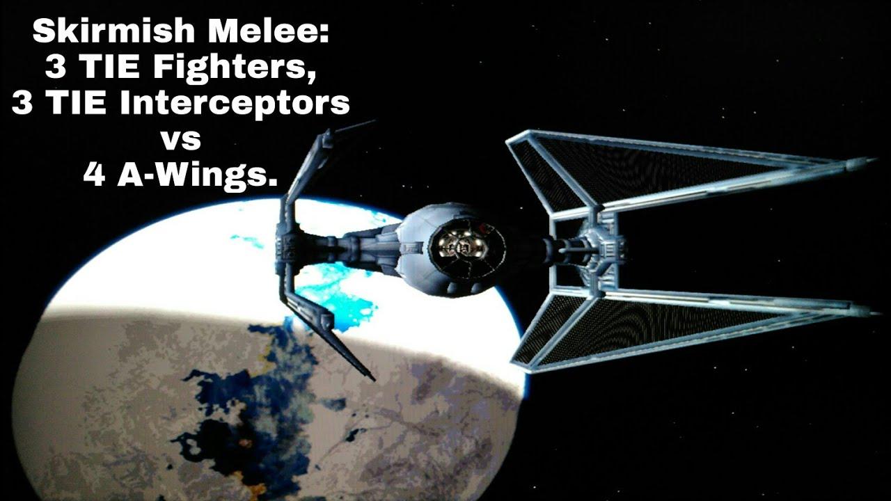 PC X-Wing Alliance mod G15, 1P gameplay Skirmish Melee w/ Derilyng Platforms, Imp TIE Interceptor.
