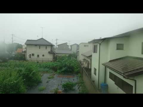 Getting hit by a tropical storm typhoon in Japan - home video