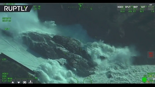 Aerial footage capture severe erosion of Oroville Dam's emergency spillway