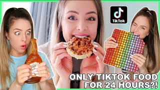Only Eating Viral Tiktok Foods For 24 Hours !!