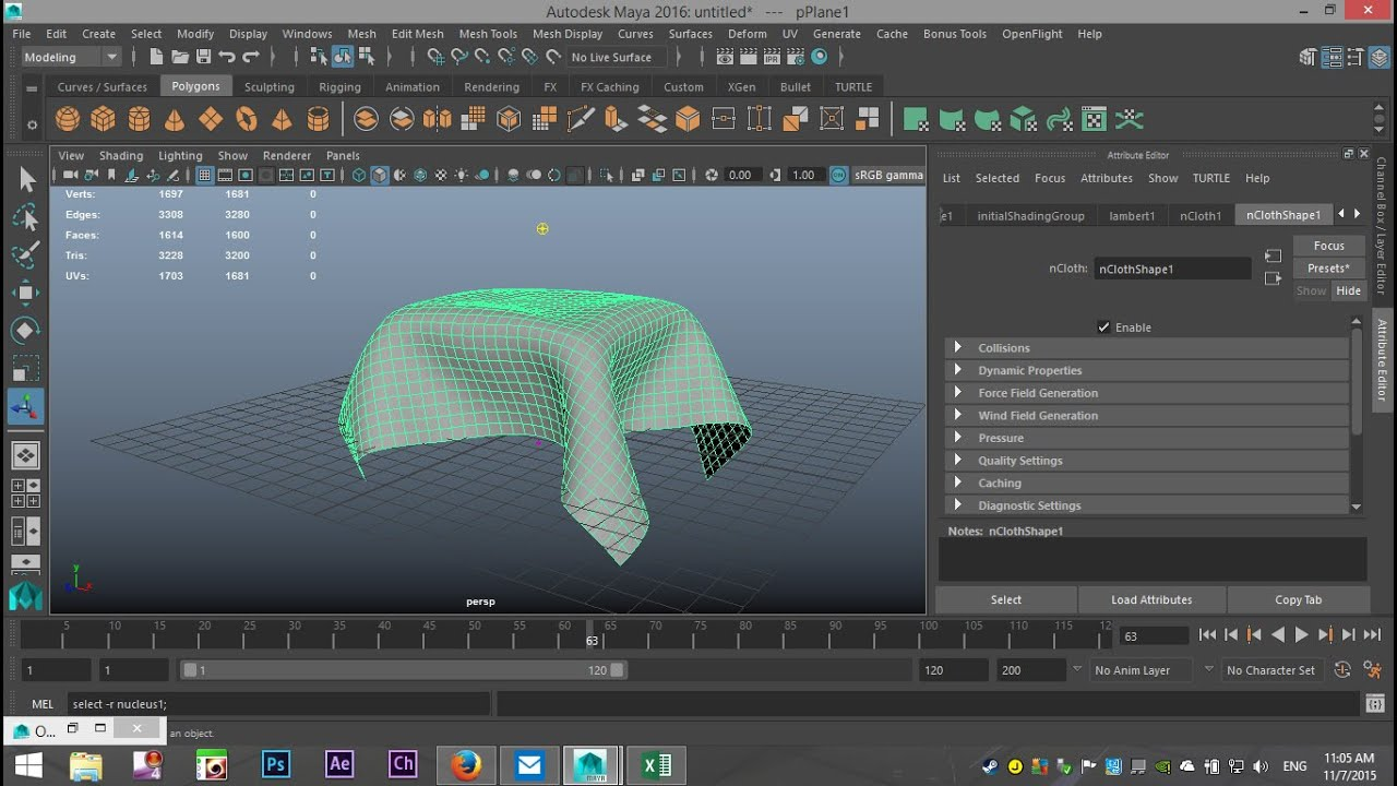 Maya 2016 tutorial : How to export an nCloth object ( FBX )