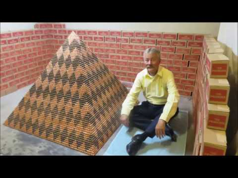 Man builds 1 million-penny pyramid in attempt to break world record