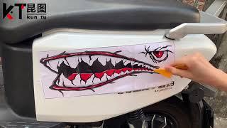 오토바이 상어 스티커 자동차 스티커 3d 스크래치 방지…