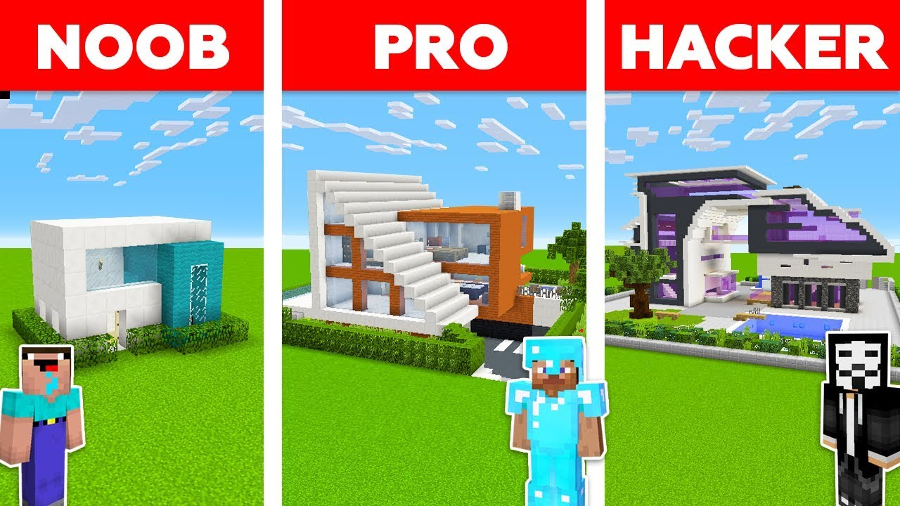 Minecraft Noob Vs Pro Vs Hacker Futuristic House Challenge In Minecraft Animation Youtube