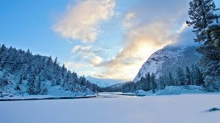 peaceful mountain snow music 1hr nature relaxation film remastered in 4k