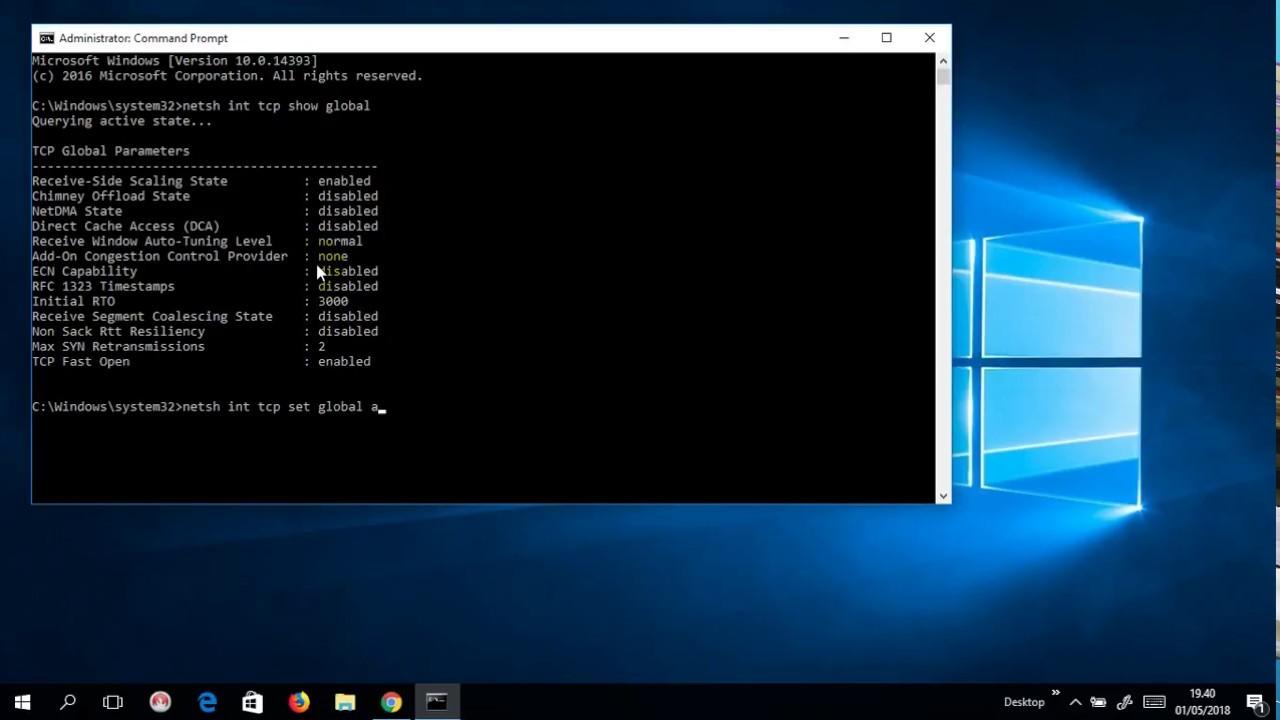 cara mempercepat koneksi WIFI - Disable Window Auto Tuning Windows 10