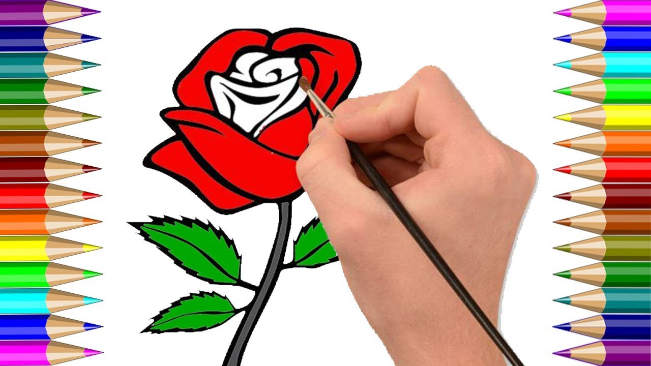 How to Draw a Rose coloring Pages Super Easy for Kids Step by Step ...