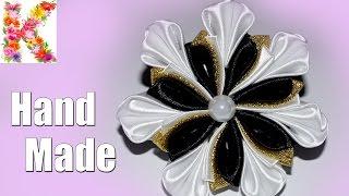Канзаши мастер класс. Резинка для волос своими руками. Kanzashi flower tutorial