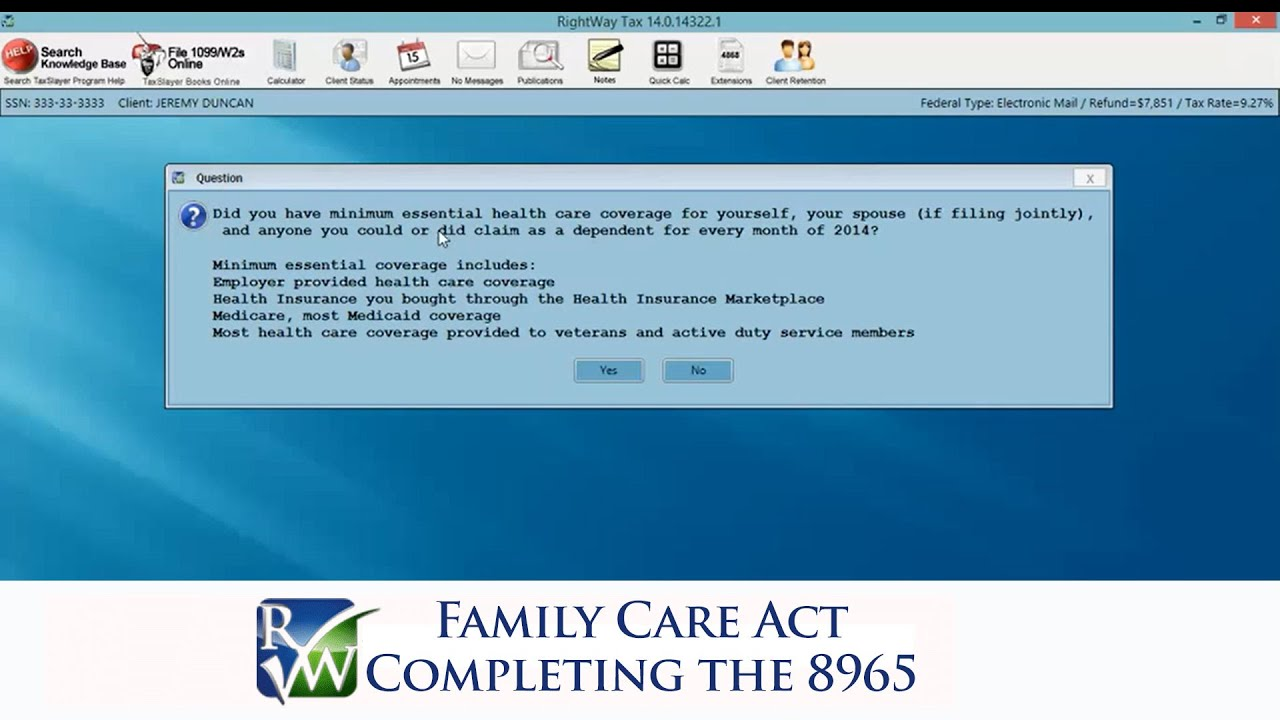 Affordable Care Act, Completing the 8965