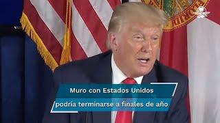 """En entrevista este miércoles, el mandatario afirmó que EU tiene """"444 kilómetros (de muro fronterizo). Gracias a Dios lo tenemos, porque México tiene un tremendo problema de Covid. Habremos completado el muro para finales de año"""", señaló"""