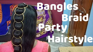Bangles braid hairstyle | hairstyle with metal bangles | party hairstyle braid | braid with bangles
