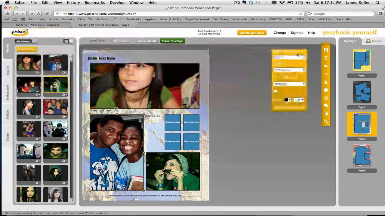 make personal yearbook pages at yearbookyourself com youtube