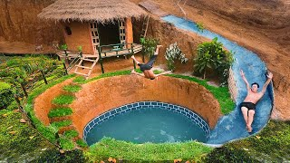 Build Swimming Pool Water Slide Around Secret Underground House (full) - Primitive Survival