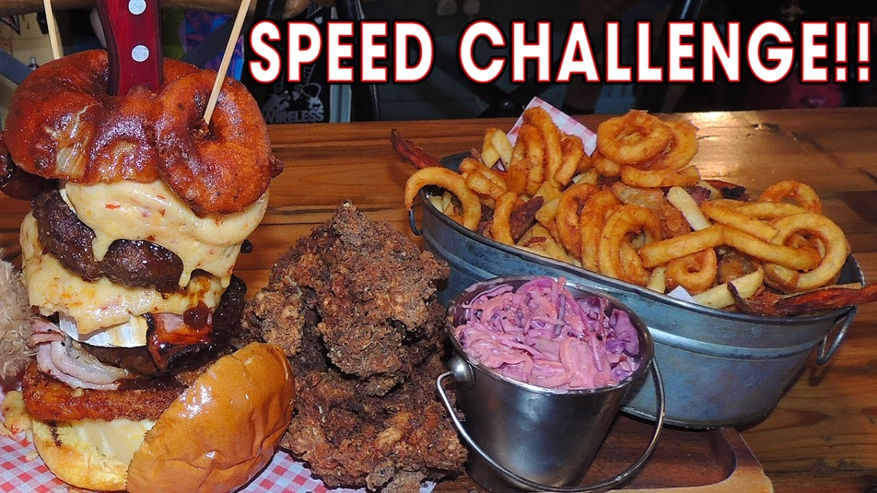 Pattersons' Fried Chicken And Cheeseburger Challenge!!