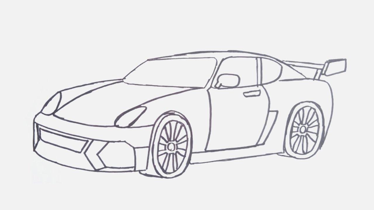 Cara Menggambar Mobil Balap Menggambar Mobil Porsche Youtube