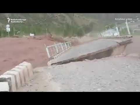 Torrential Rain In Tajikistan, Flood Waters Sweeps Away Bridge
