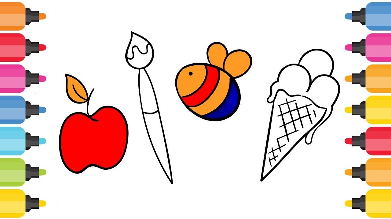 Resim Fırçası Elma Arı Dondurma Boyama Oyunu Youtube
