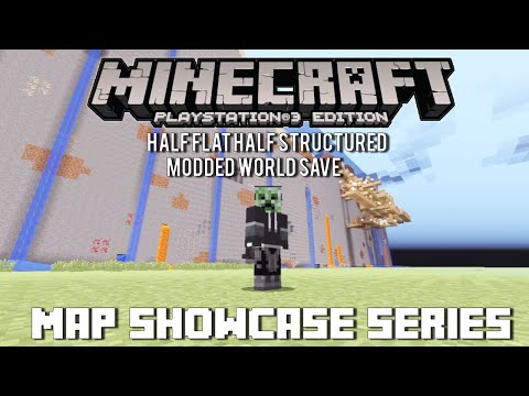 PS3/PS4 Minecraft Map Showcase: Episode 71 Half Flatland Half Generated Structures