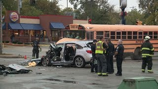High-speed chase ends in crash with school bus
