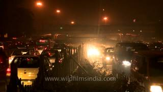 Traffic on the busy Ring road at Night - Time Lapse in Moolchand, Delhi