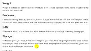 Comparing windows 8 RT with third generation ipad