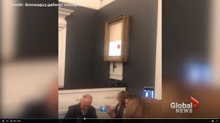 EPIC! $1.4 million Banksy Painting Self Destructs At Sotheby's Auction After Sale! Naughty Beaver