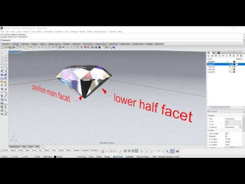 Jewelry CAD Design Tutorial #8 - How to Build a Diamond in Rhino 5 0 (part  II)