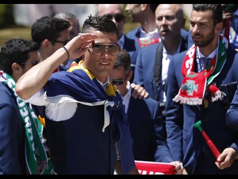 Moment victorious Portuguese football team return to Lisbon