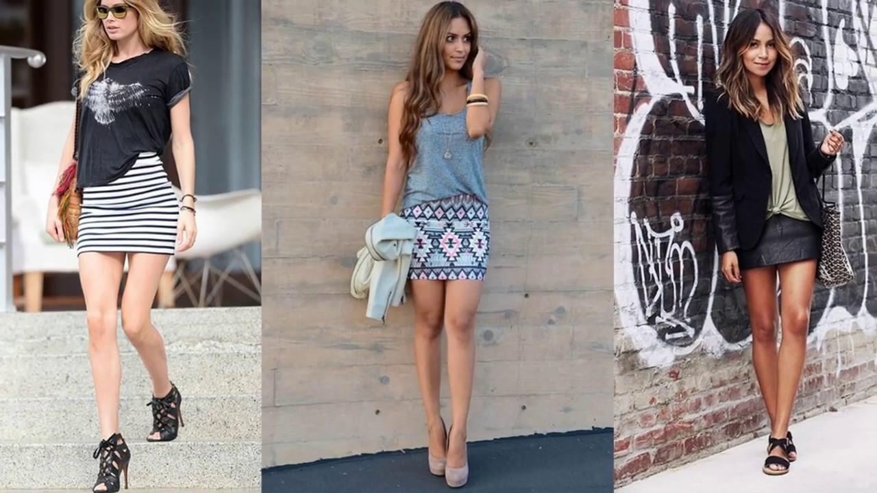 f9ed5baac96 denim mini skirt outfit ideas - YouTube