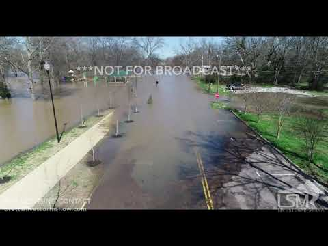 2 24 19 Columbus, MS Tennessee - Tombigbee Waterway Flooding Covers Roads Ant Mats Floating Aerials