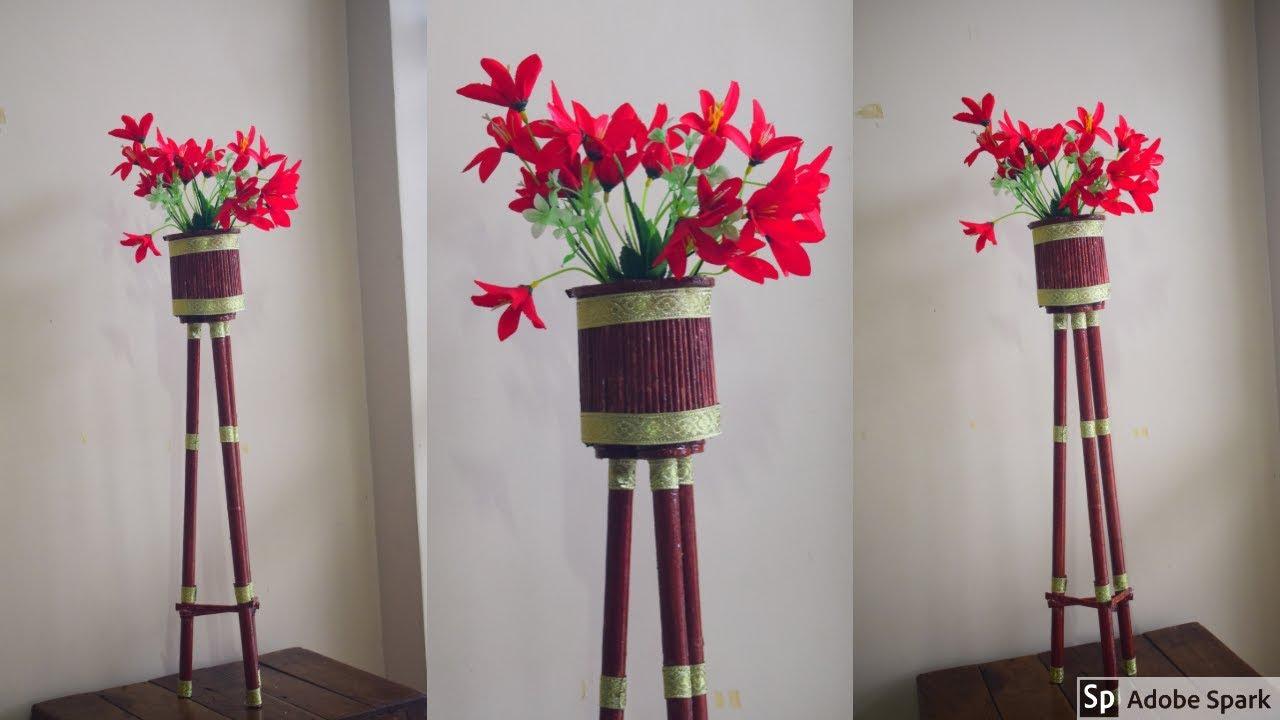 Diy Newspaper Corner Flower Vase Stand Flower Vase Stand Best Out Of Waste Parul Pawar Youtube