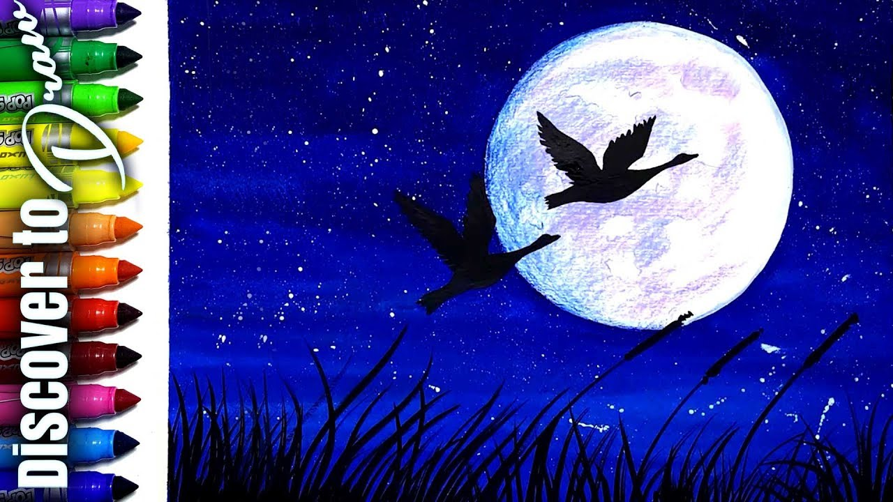 How To Draw Moonlight Scenery For Kids Simple Watercolor