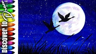 how to draw moonlight scenery for kids_Simple watercolor painting tutorial