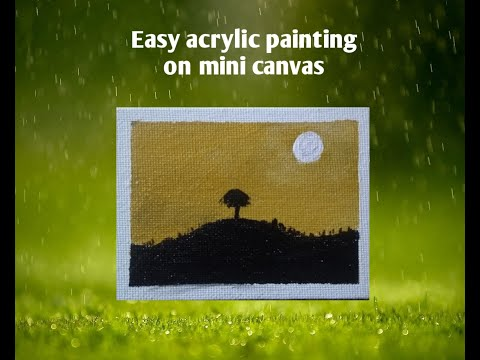 How to paint on mini canvas | Simple landscape painting | Acrylic painting tutorial for beginners