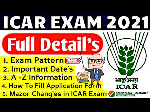 ICAR EXAM 2021   Exam Date, Eligibility, Age Limit,Exam Pattern, Full Detail   ICAR Application Form